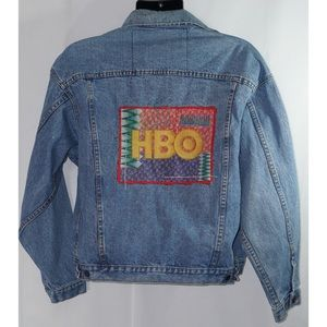 HBO Cinemax Vintage Embroidered Denim Jacket L